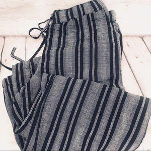MERONA NAVY STRIPED LINEN DRAWSTRING PANT XS